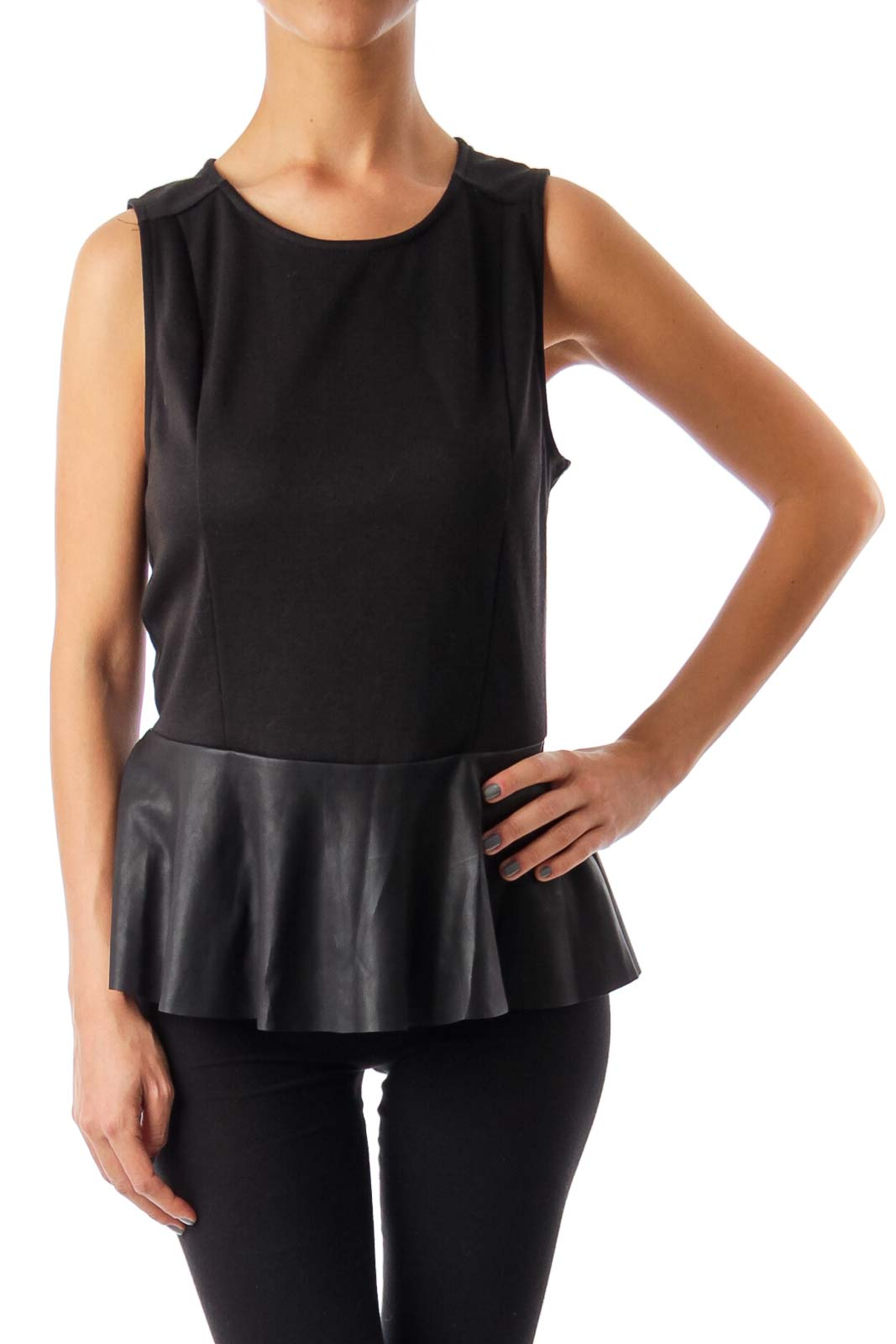 Black Back Zip Up Sleeveless Top Front