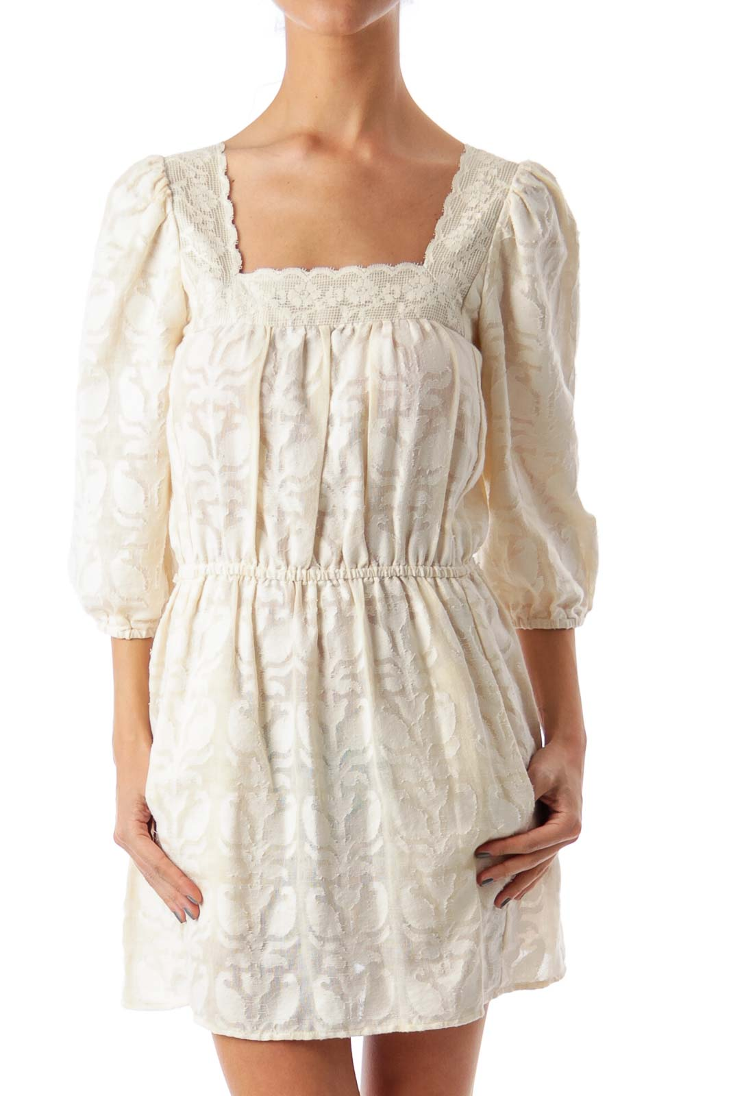 Cream Flower Embroidered A-Line Dress Front