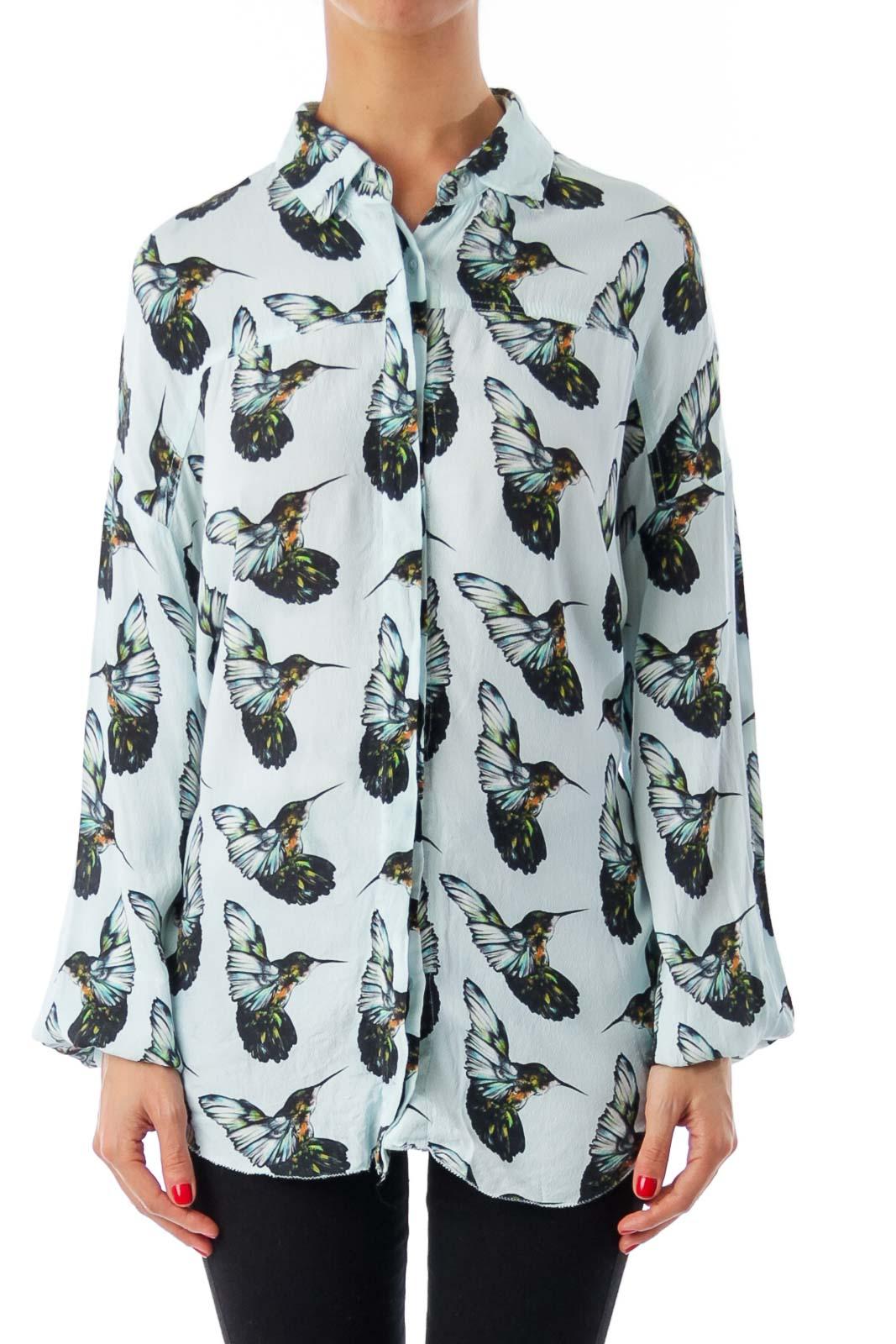 Blue Birds Print Button Down Shirt Front