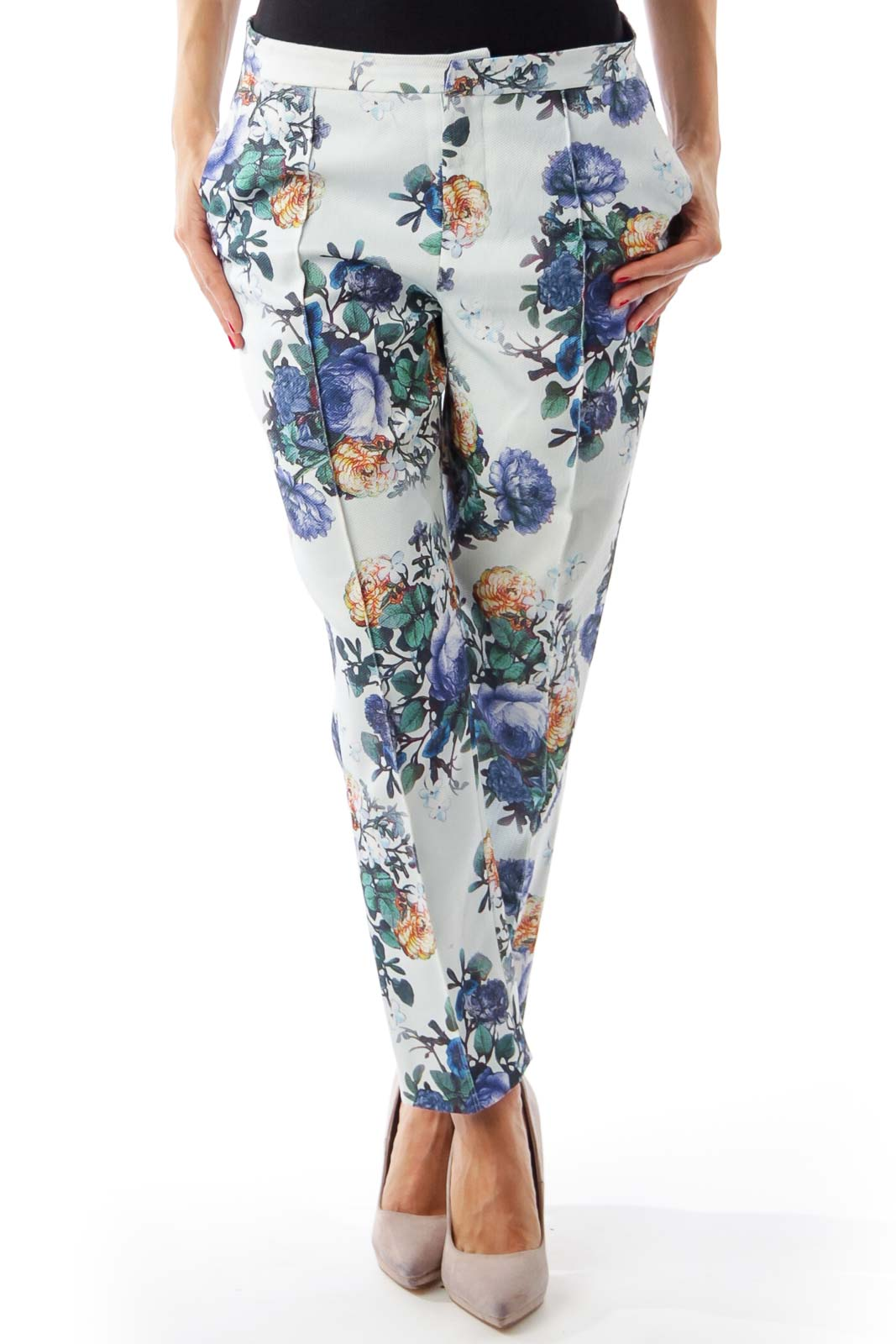 Blue Flower Print Cropped Pants Front