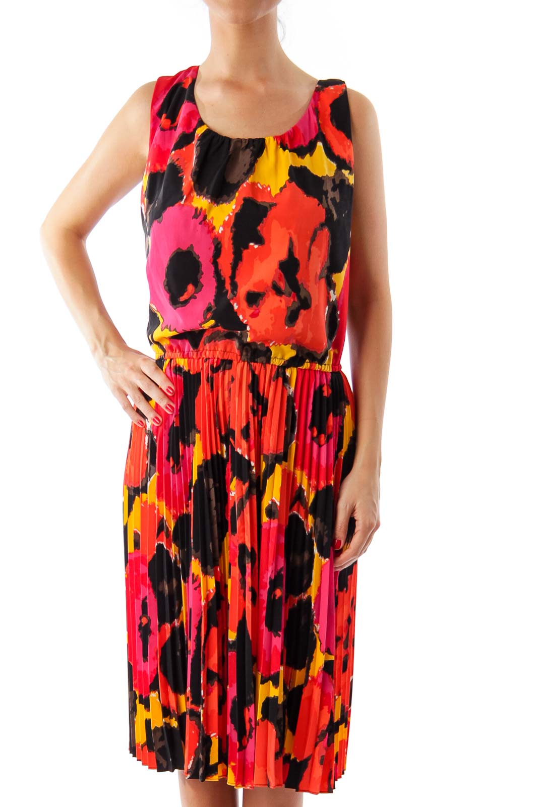 Red & Black Pattern Print A-Line Dress Front