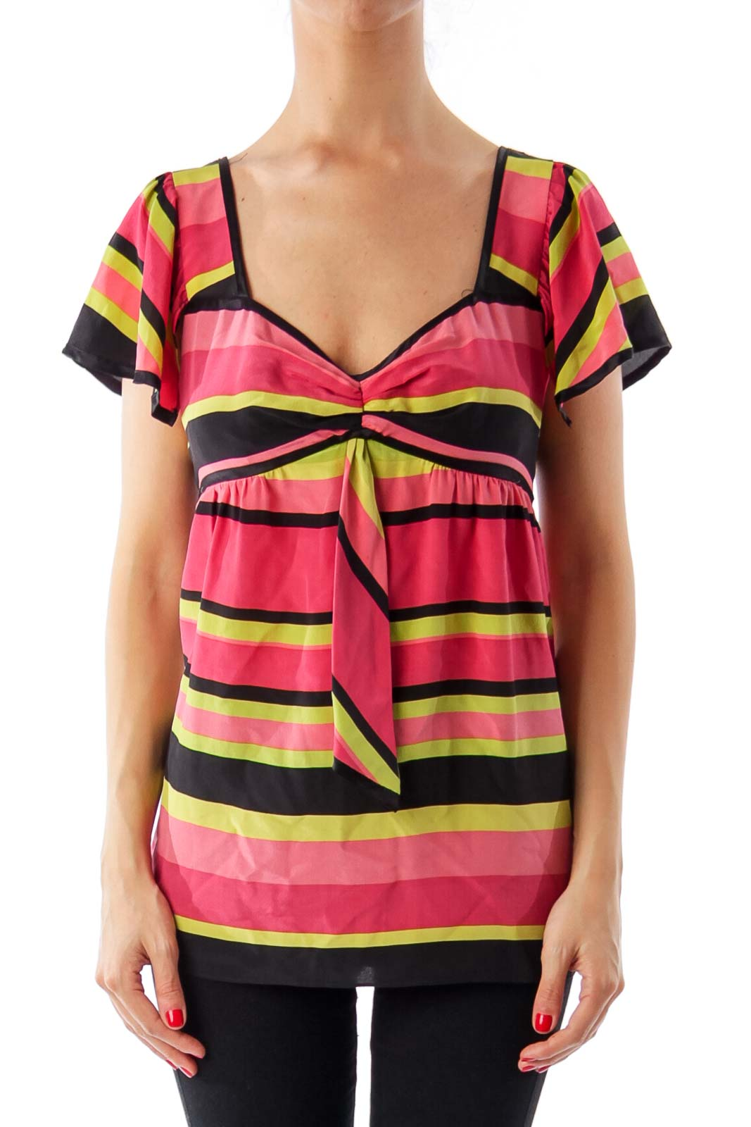 Multi Color Stripe Short Sleeve Top Front