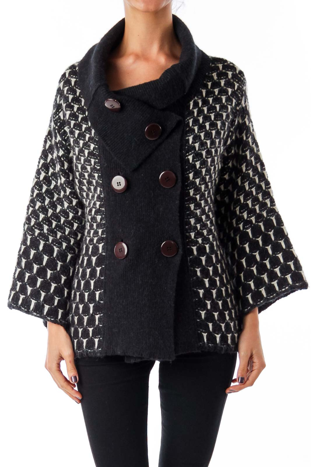 Black & White Woven Double Button Down Cardigan Front