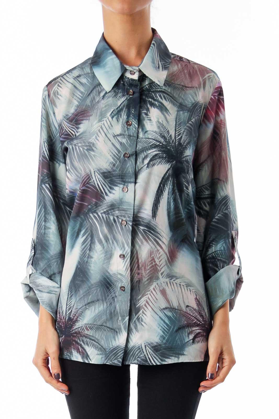 Green Tropical Tree Printed Shirt Front