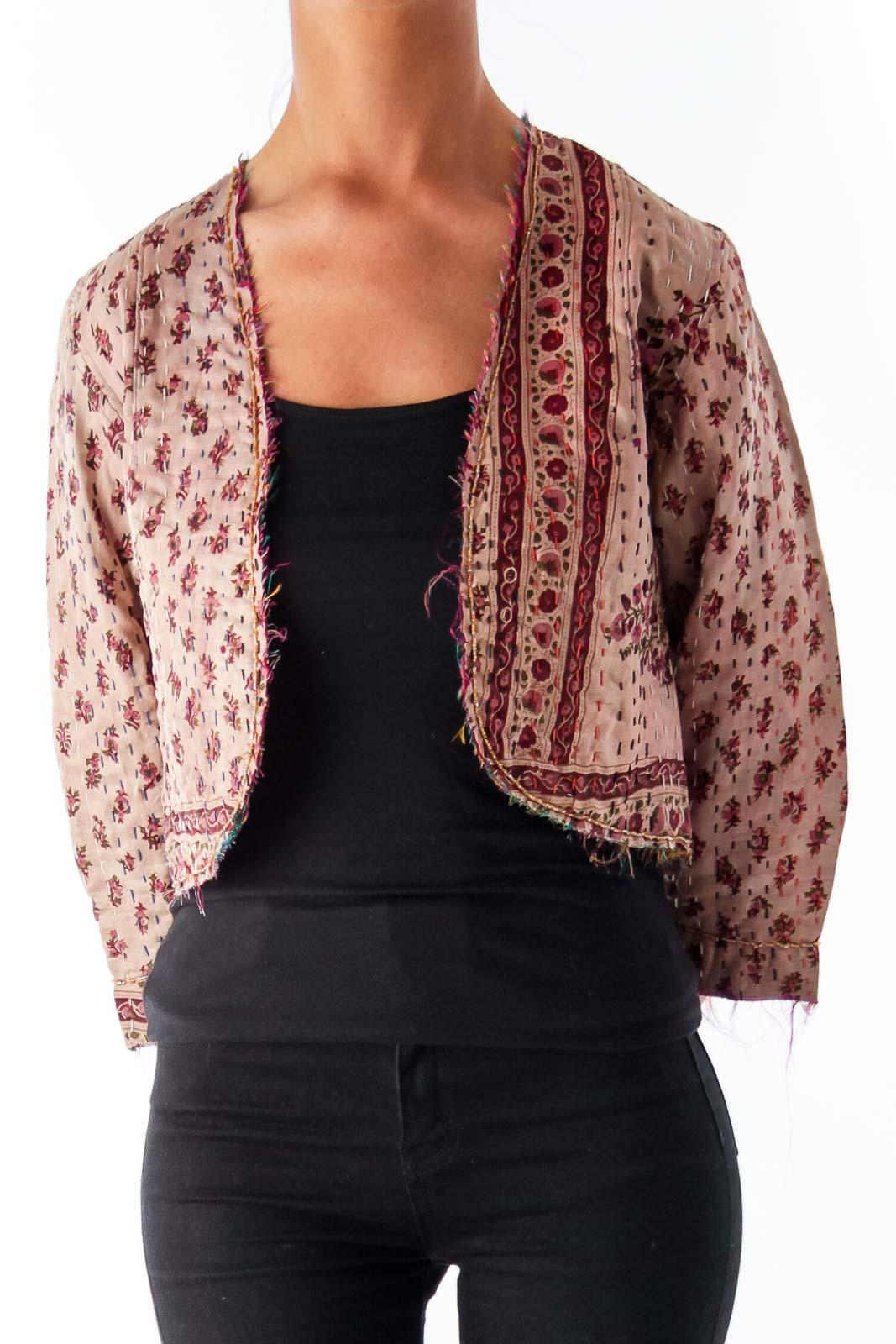 Pink Floral Vintage Crop Jacket Front