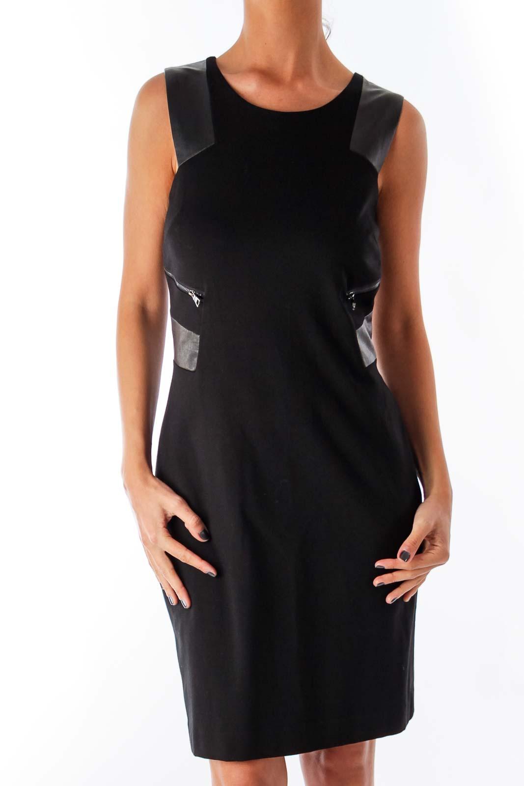 Black Leather Details Shift Dress Front