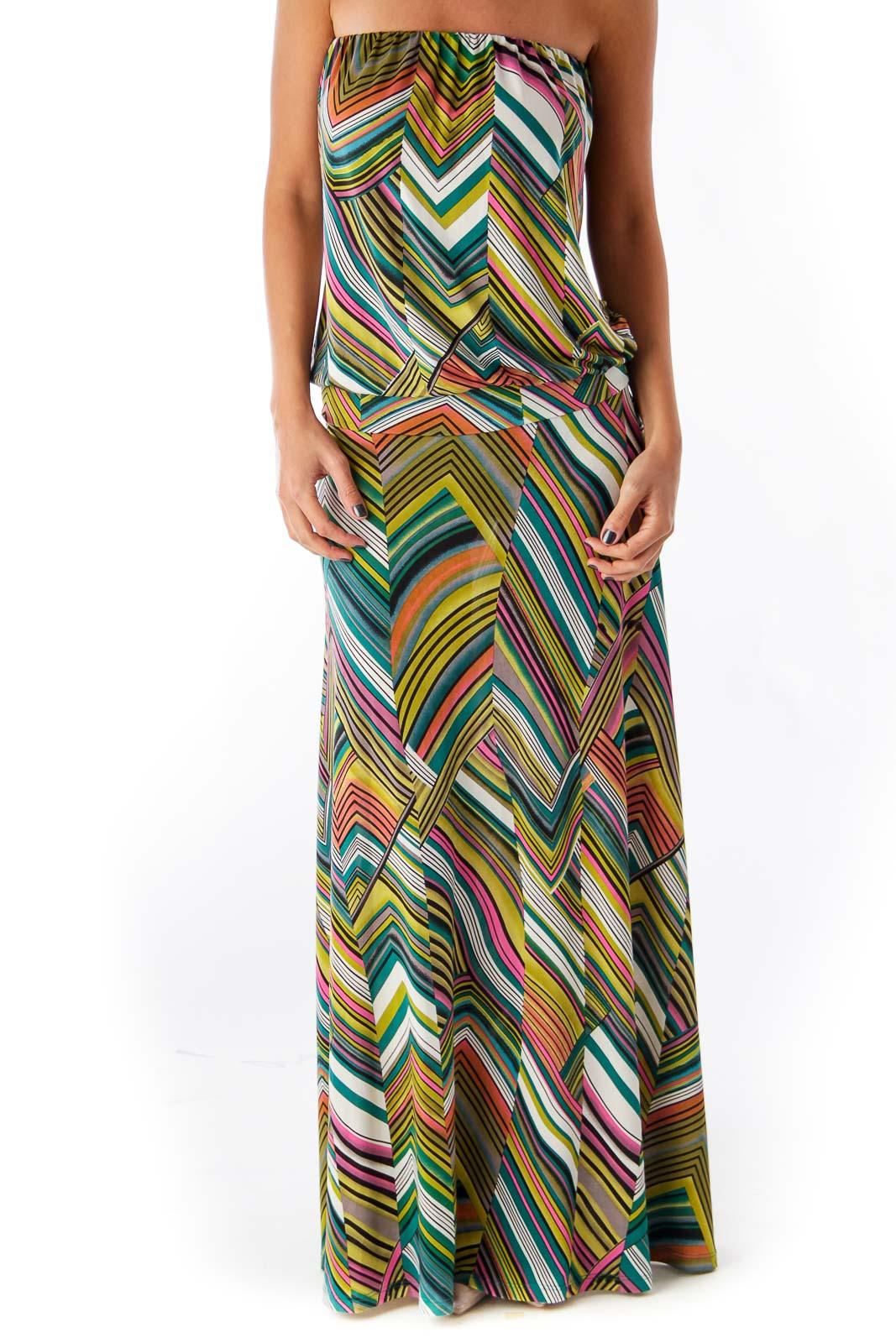 Print Chevron Long Strapless Dress Front