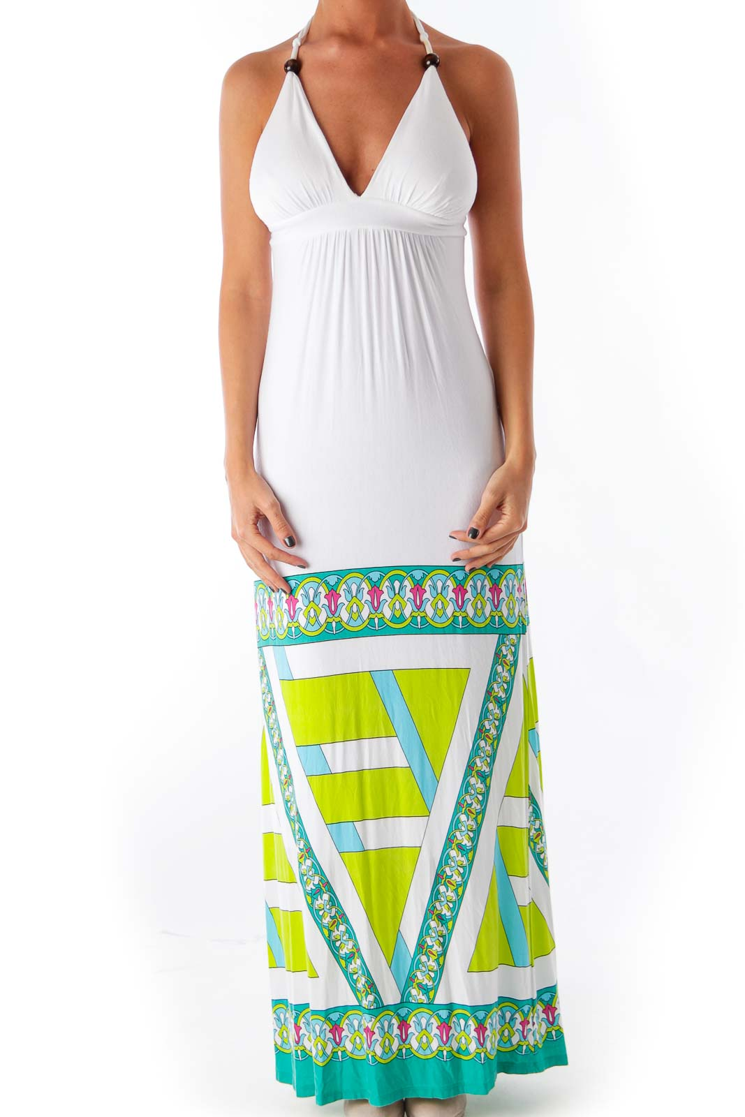 White Halter Maxi Dress Front