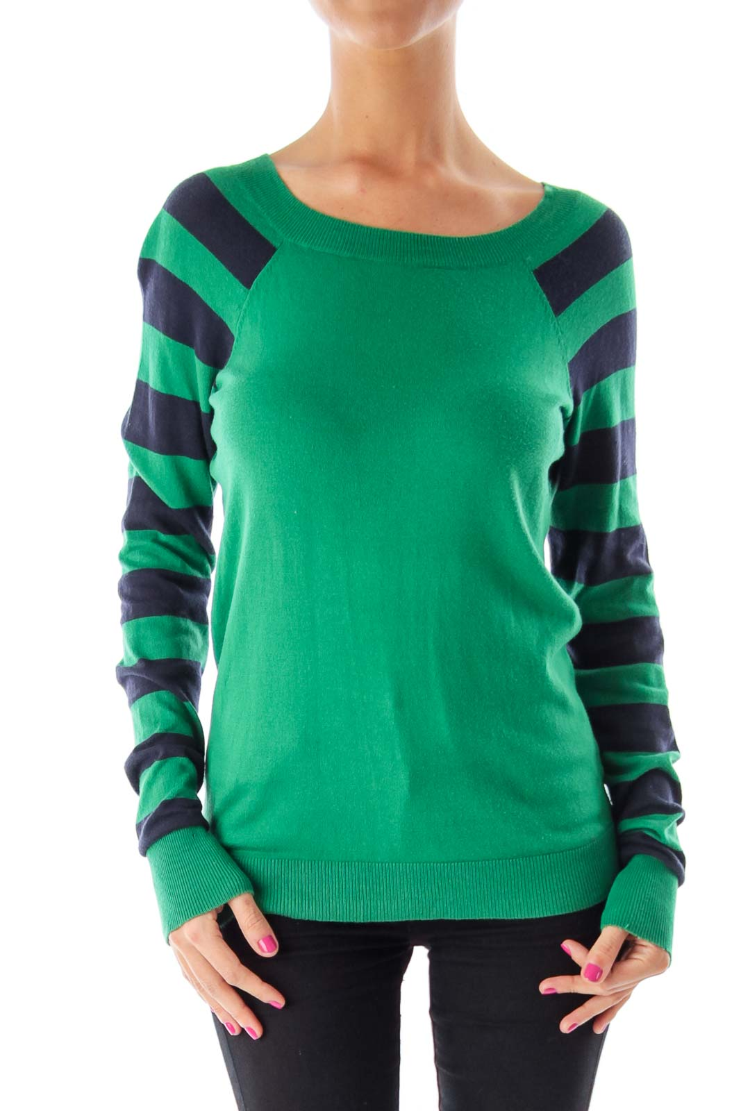 Green & Navy Striped Arms Sweater Front