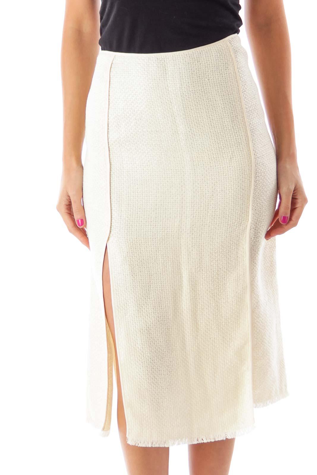 Beige Slitted Woven Midi Skirt Front