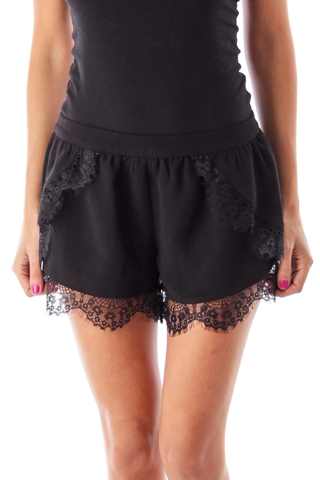 Black Lace Shorts Front