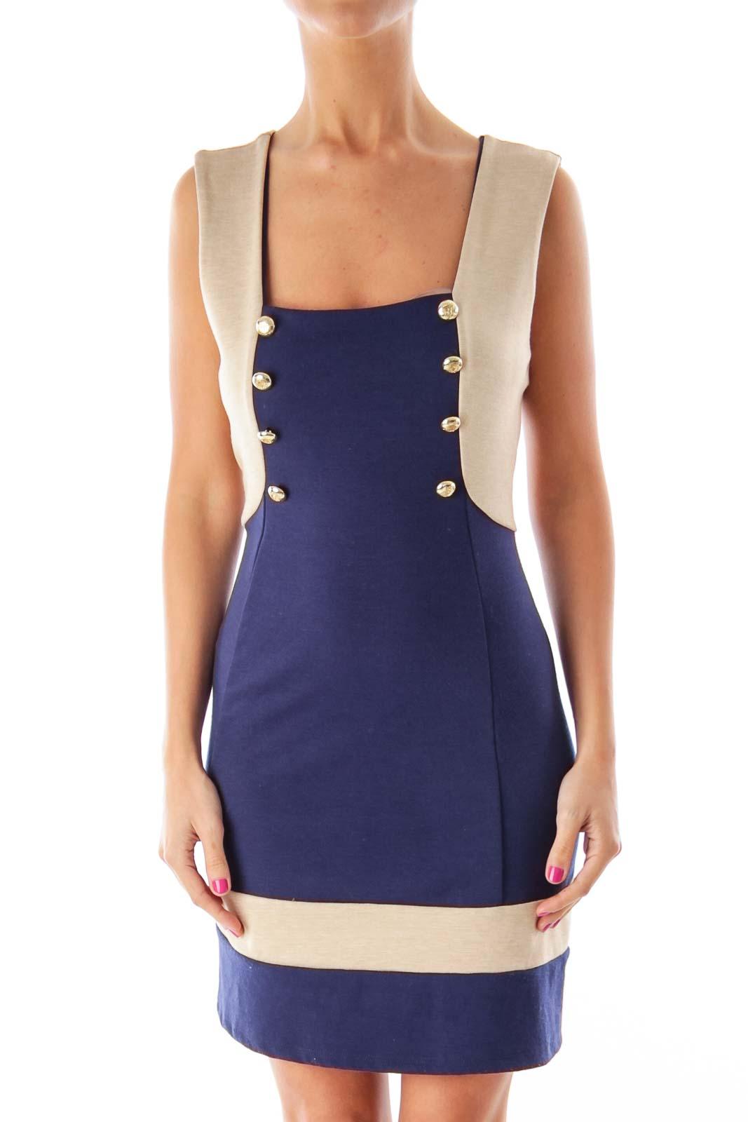 Navy & Beige Nautical Dress Front