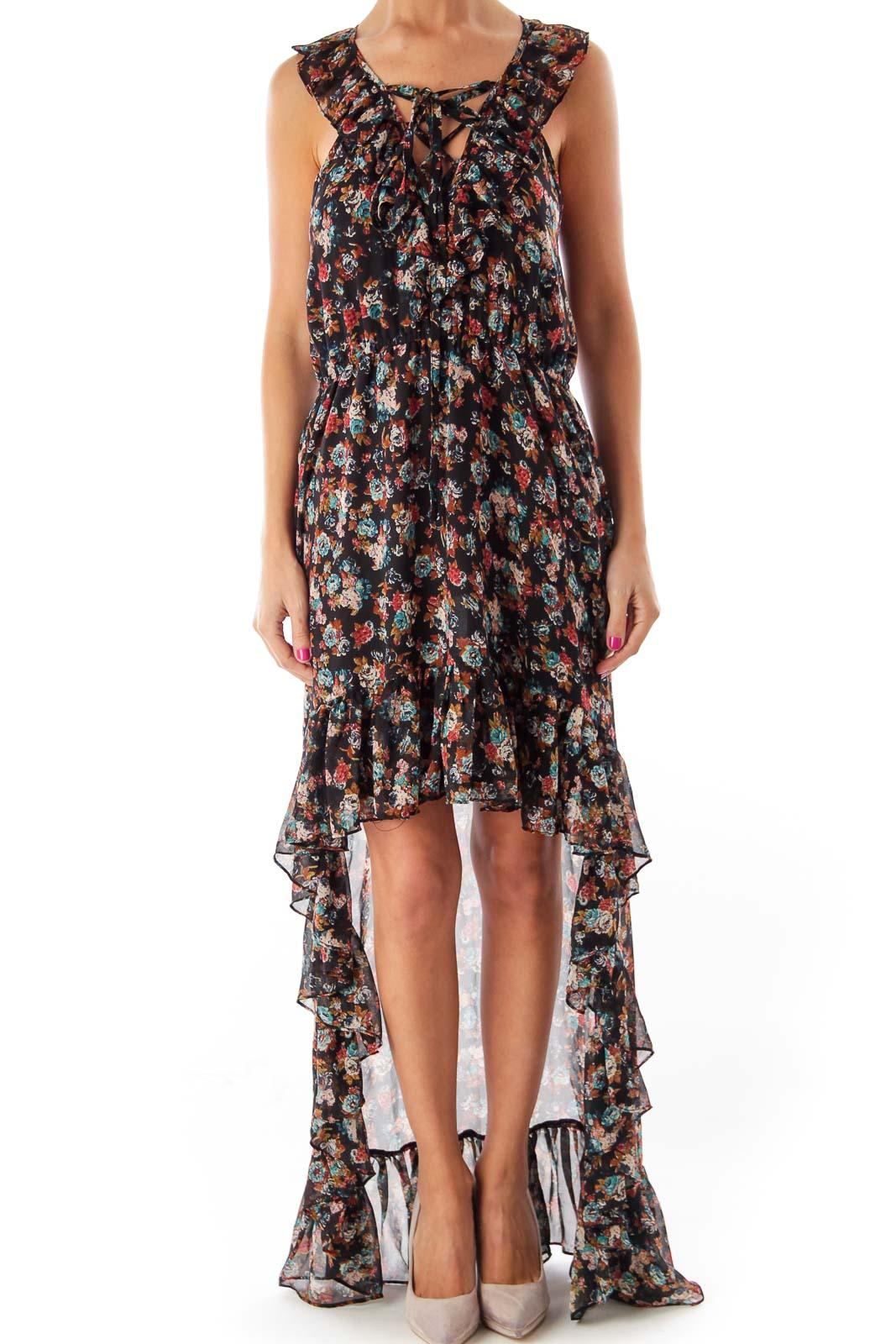 Print Ruffle Mullet Dress Front