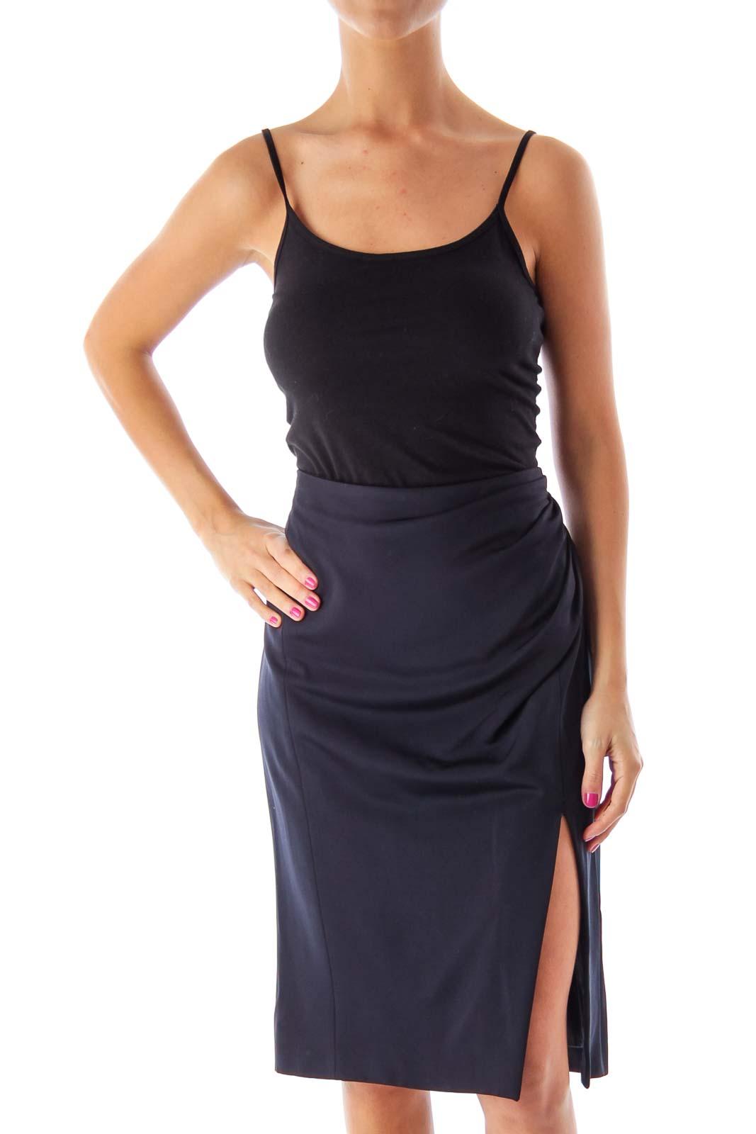 Navy Knee Length Skirt Front