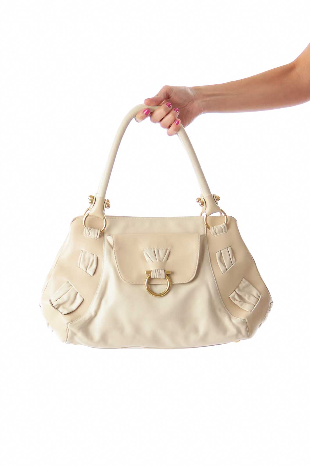 Beige Lock Large Shoulder Bag Front