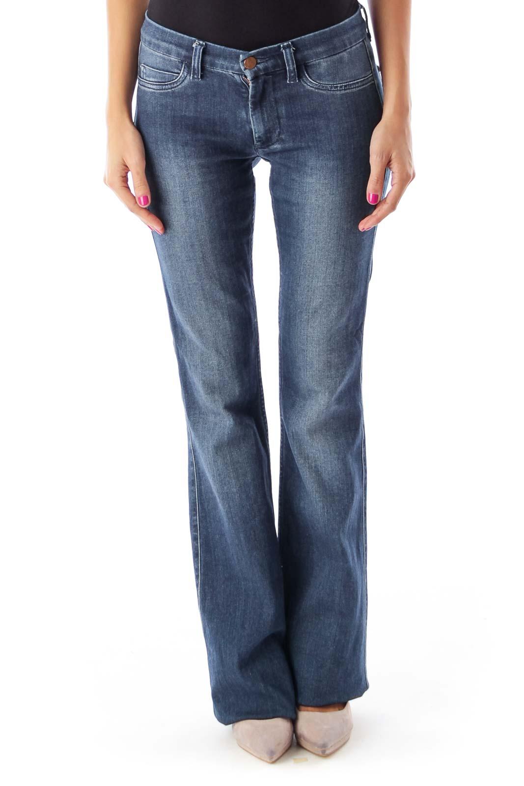 Dark Blue Bodycon Flare Jeans Front