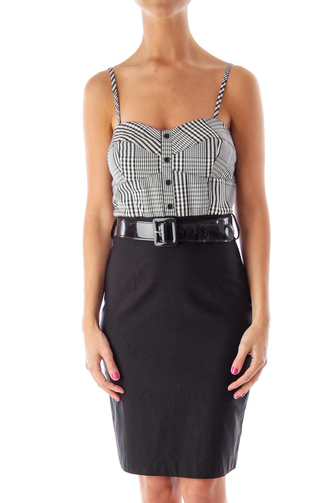 Black & White Plaid Dress Front