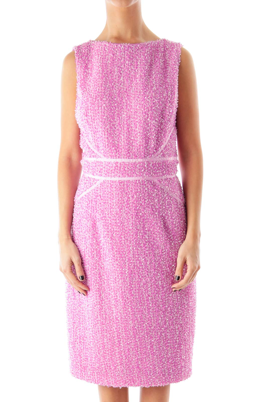 Pink Embroidered Dress Front