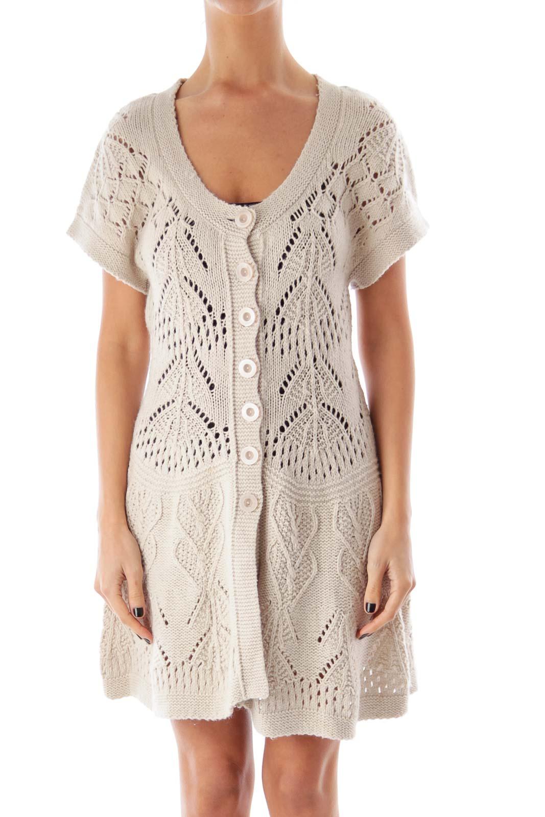 Beige Crochet Mini Dress Front