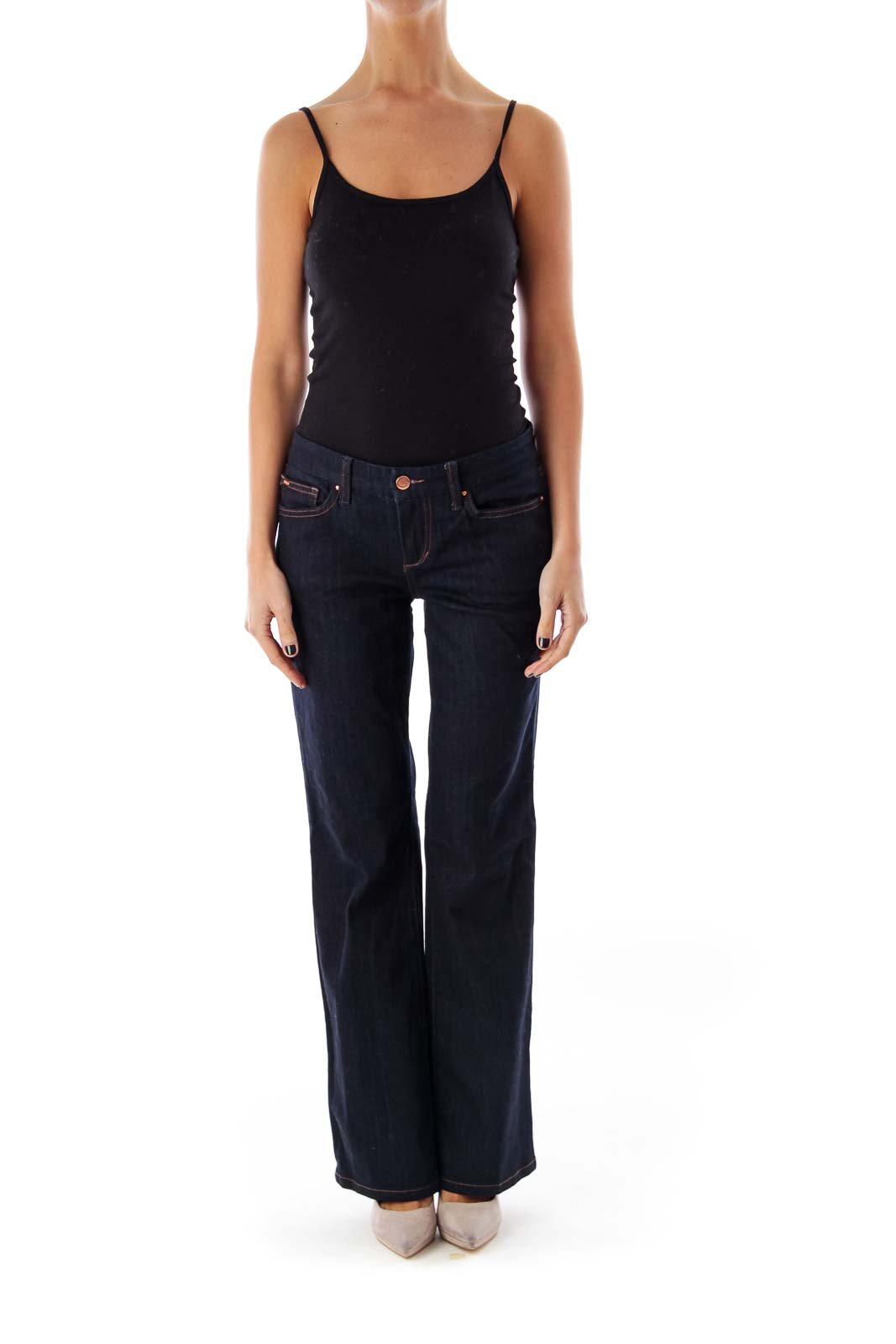 Dark Blue Low-Waist Flare Jeans Front