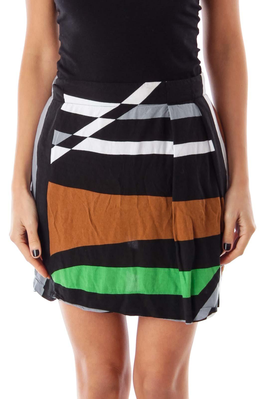 Color Block Mini Skirt Front