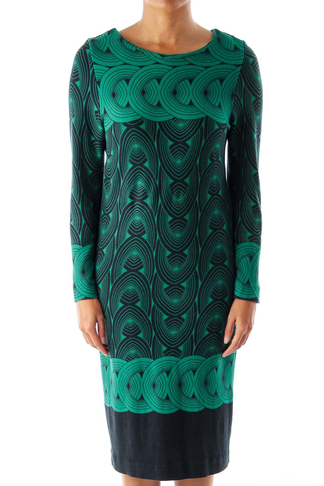 Green & Black Tribal Midi Dress Front