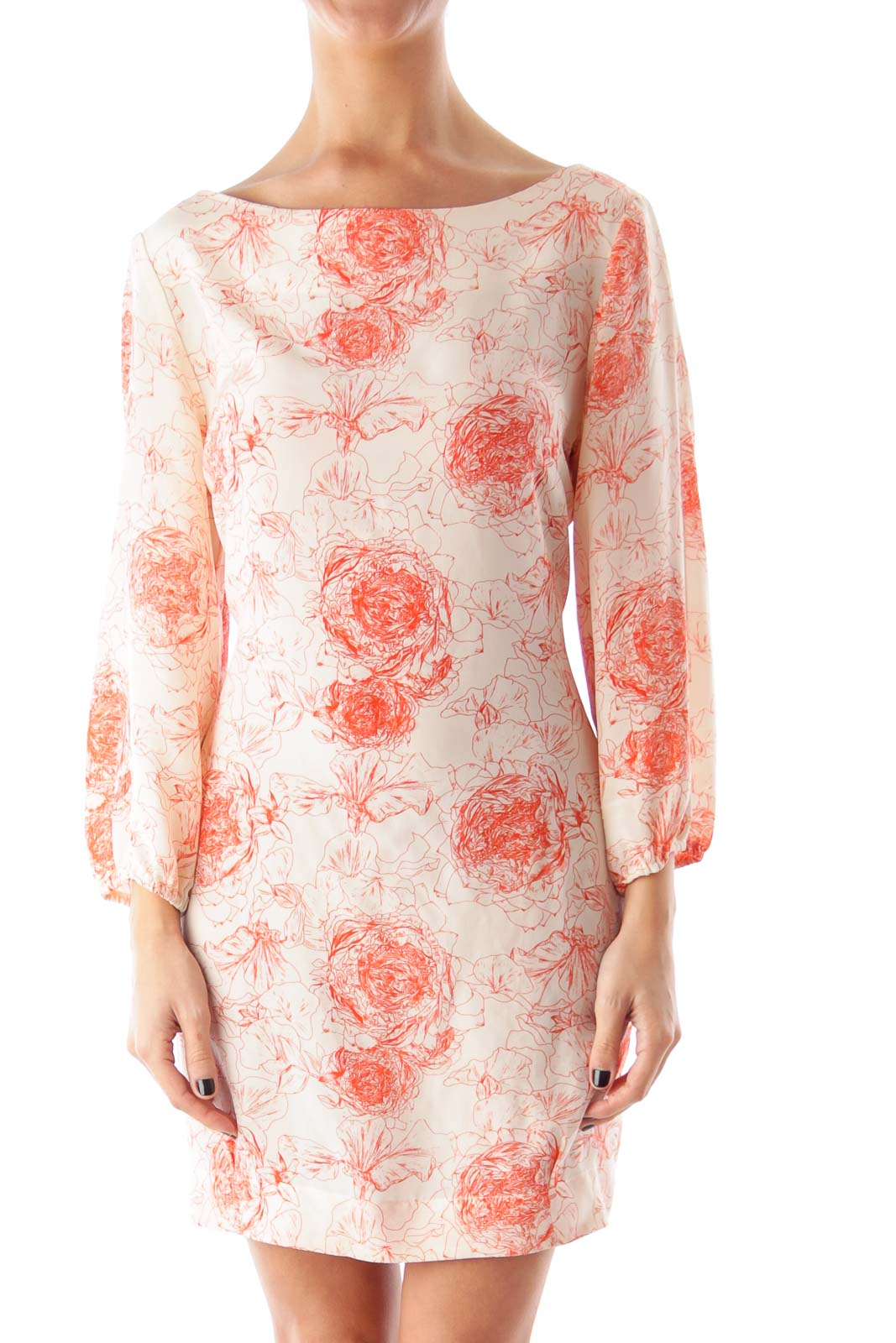 Beige & Orange Flower Print Shift Dress Front