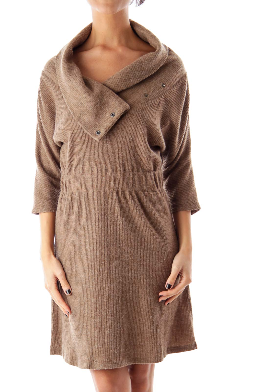 Brown Knit Sweater Dress Front