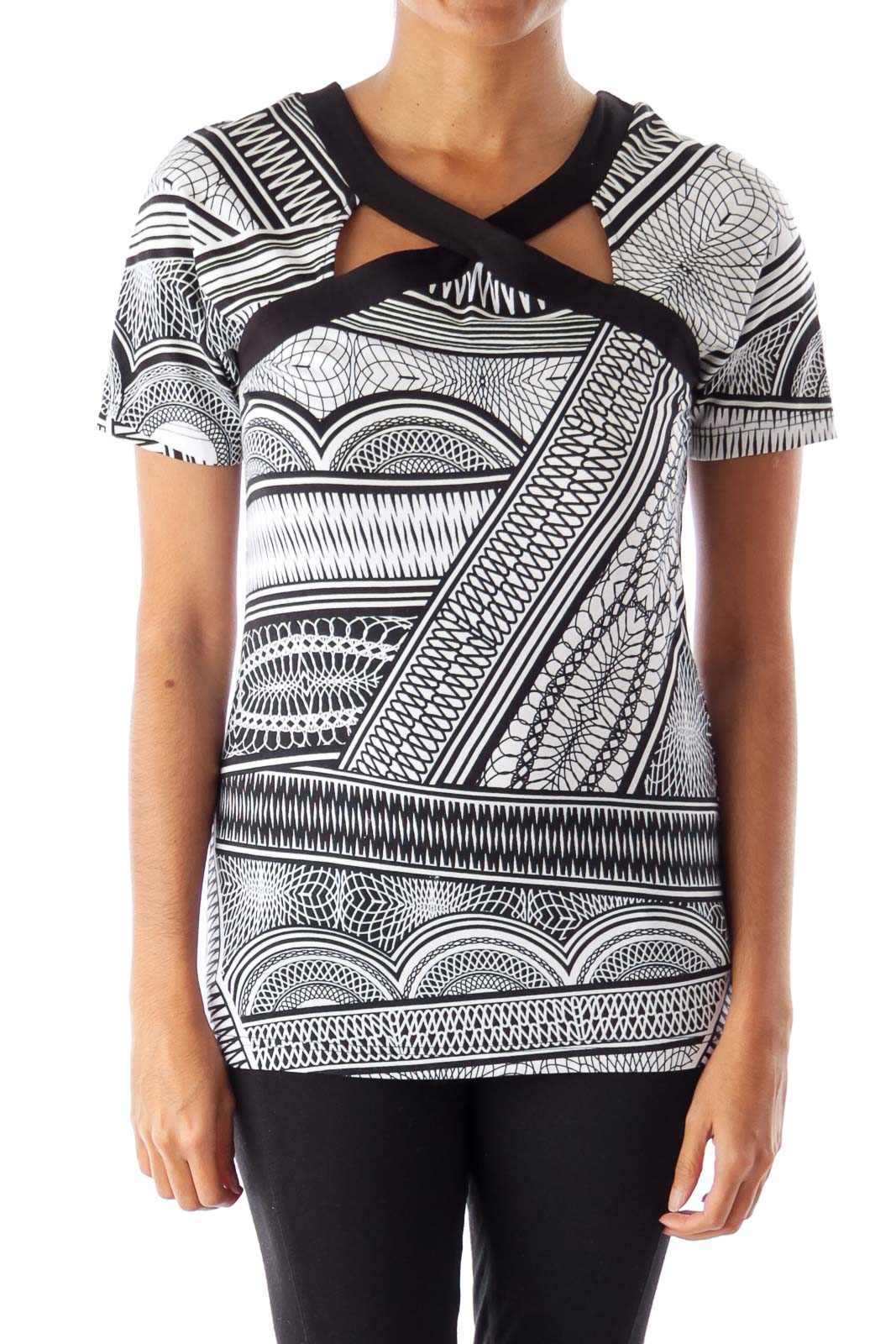 Black & White Cutout Printed Top Front