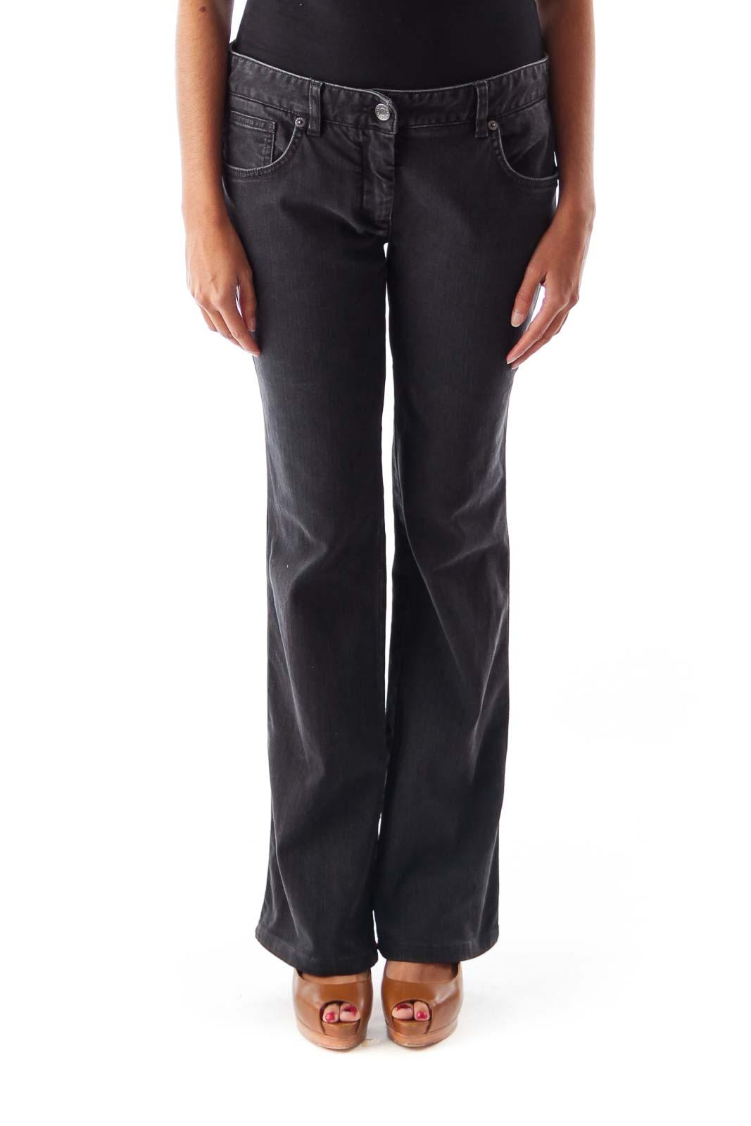 Black Flare Denim Pants Front