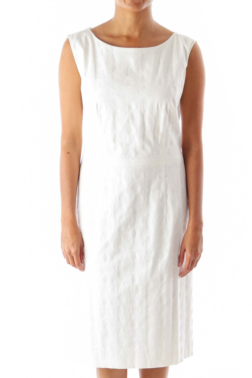 White Texture Straight Dress Front