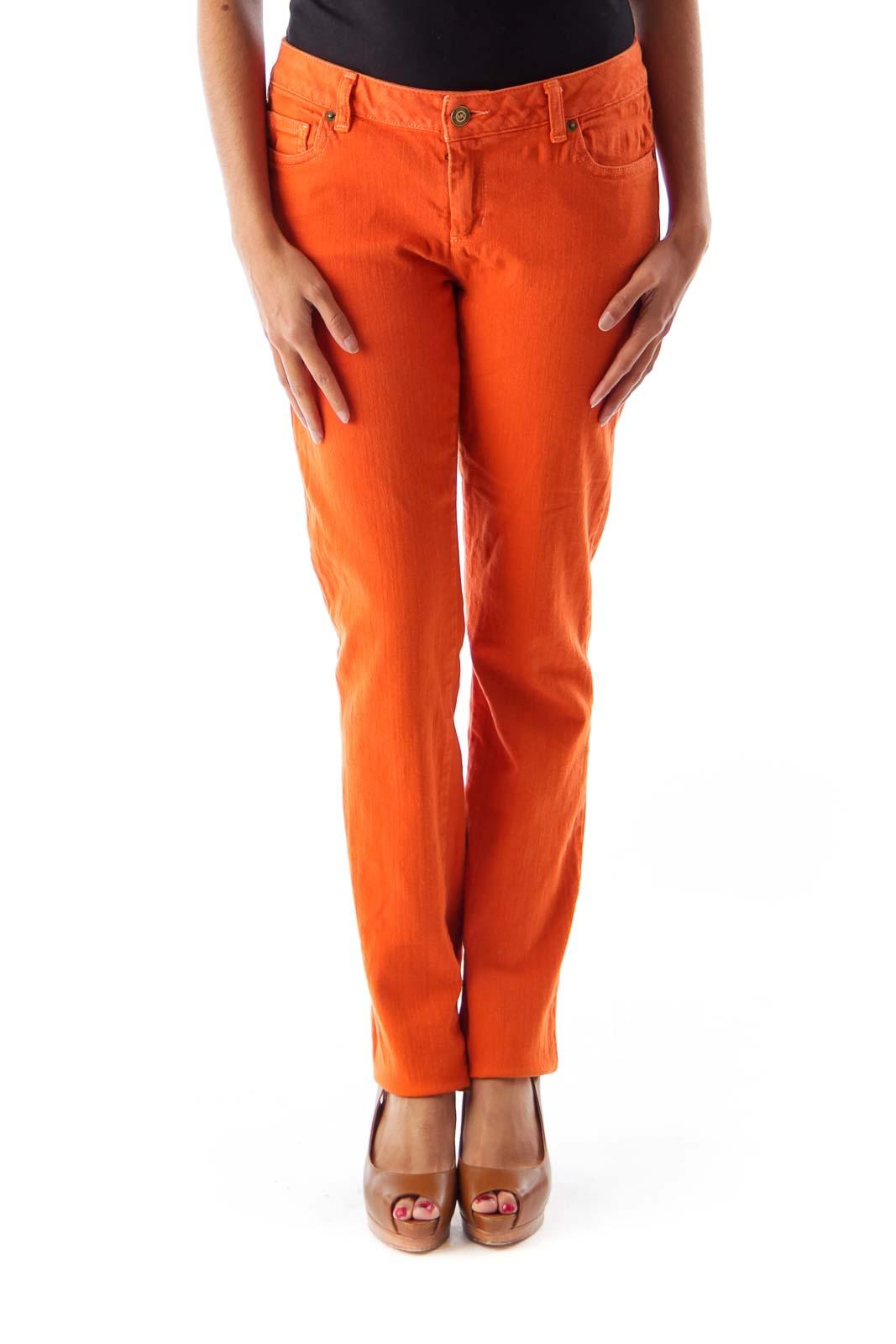 Orange Straight Denim Pants Front