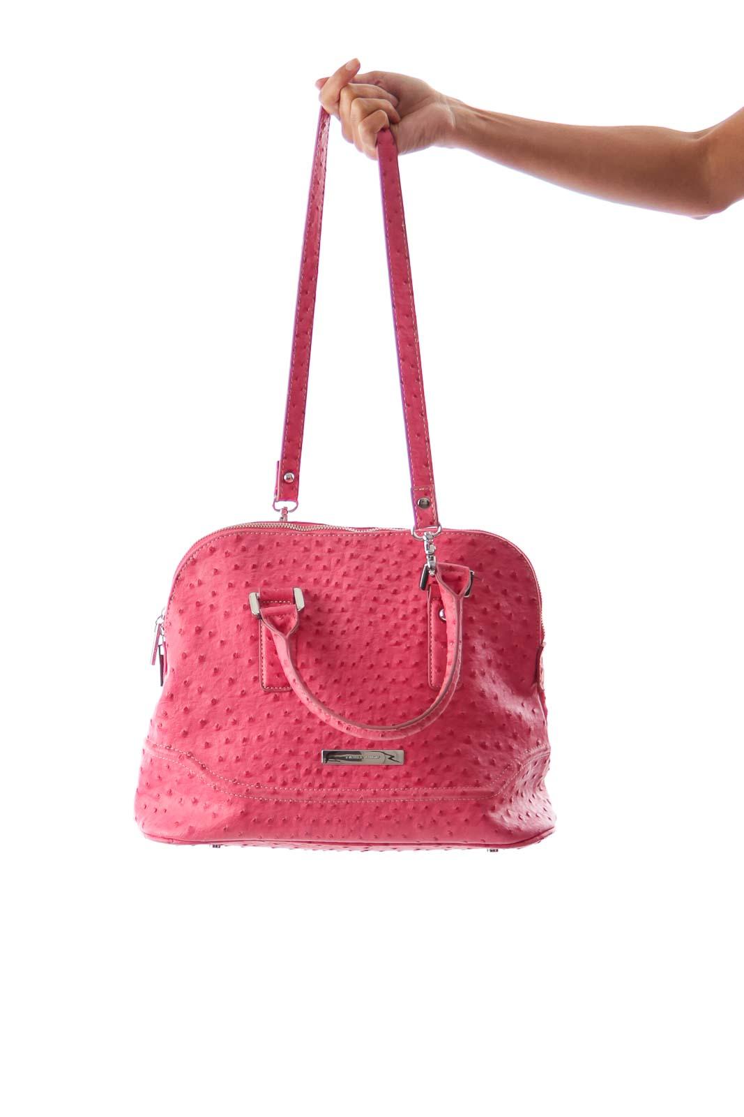 Pink Ostrich Satchel Bag Front