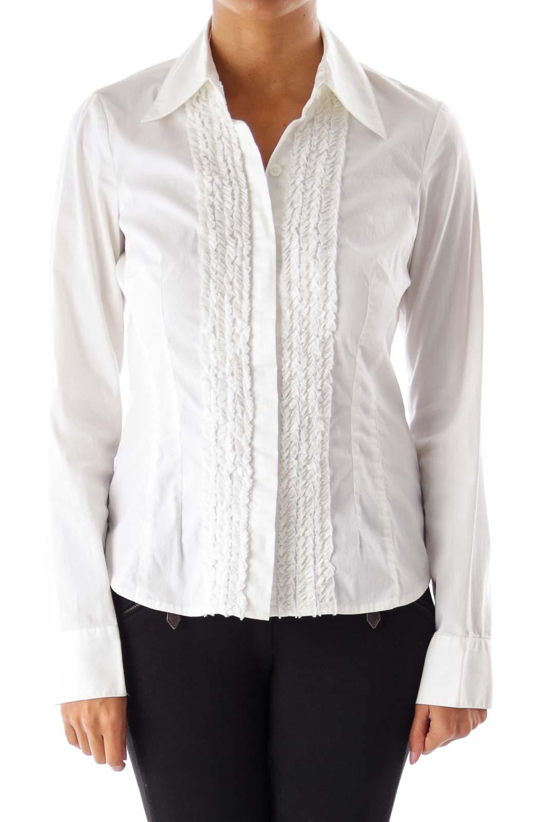 Cream Ruffled Shirt Front