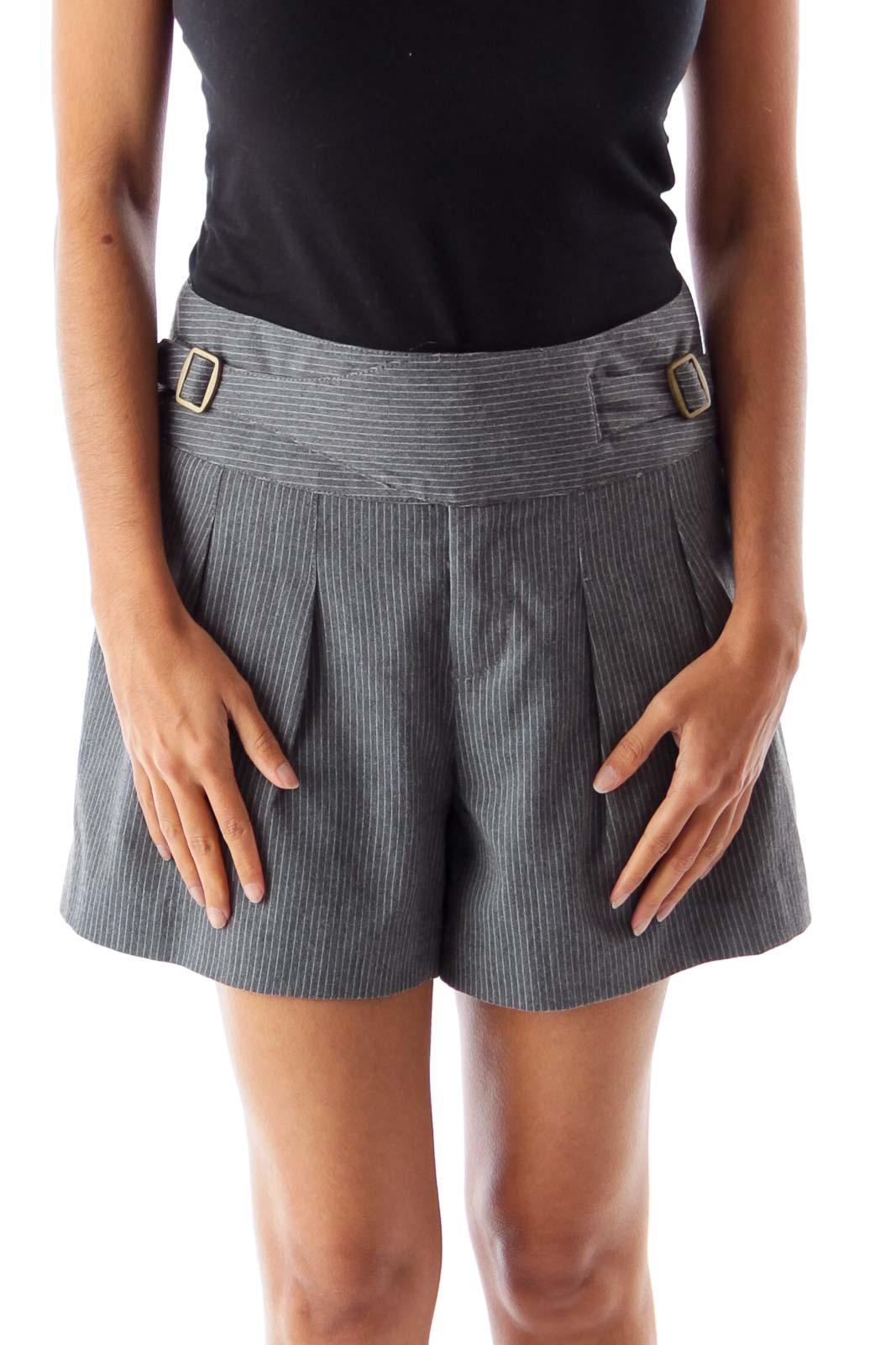 Gray & White Stripe Short Front