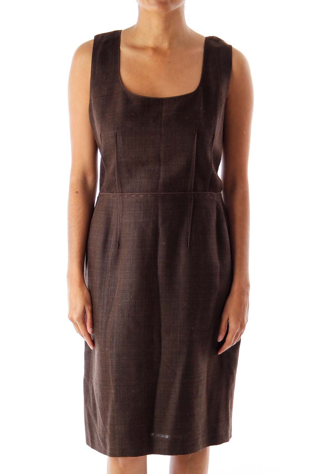 Brown Shift Dress Front