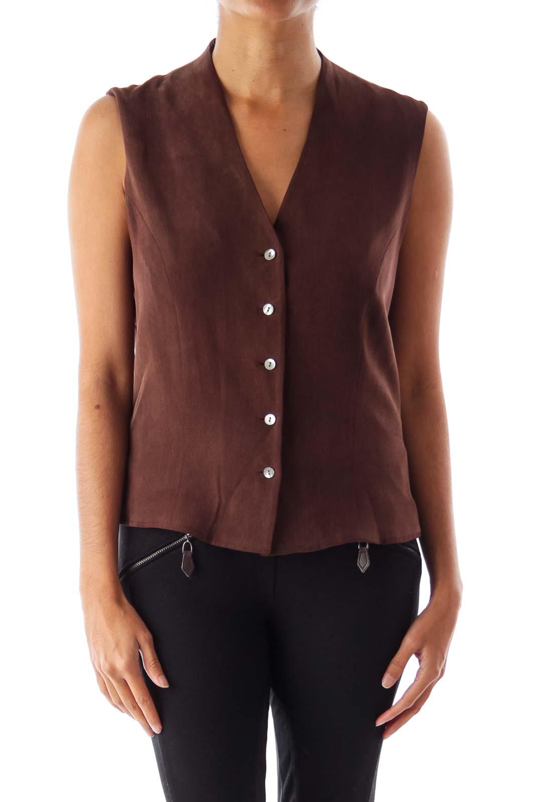 Brown Button Vest Front