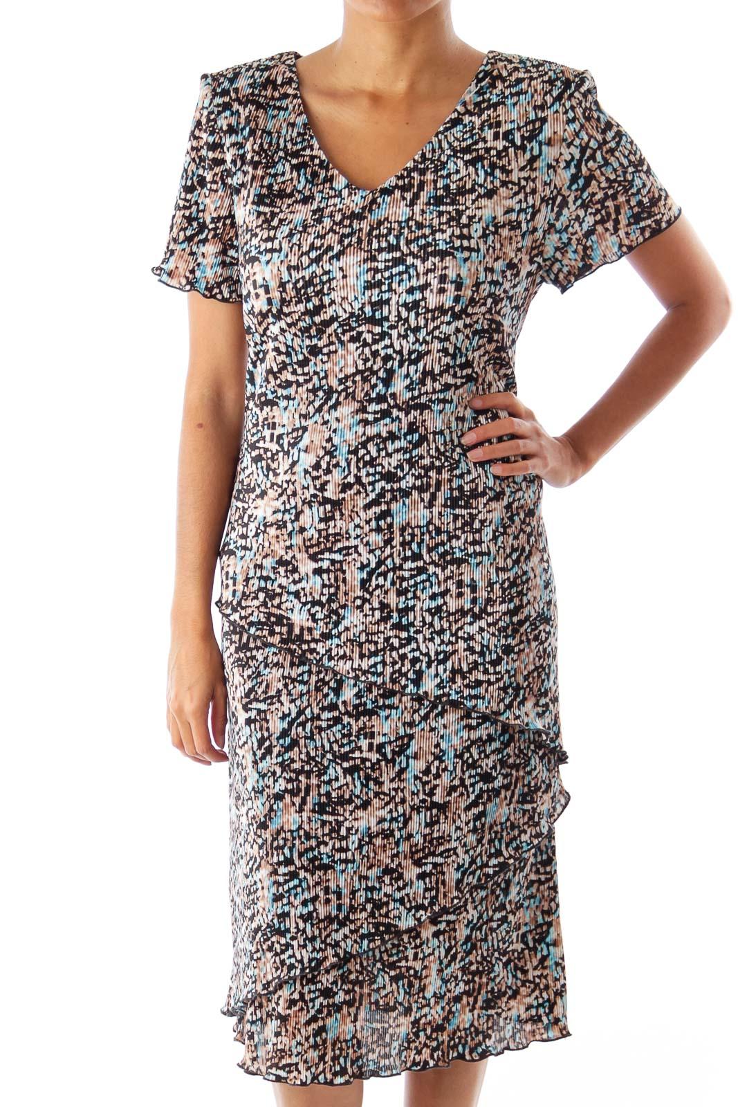 Black & Blue & Beige Layered Dress Front
