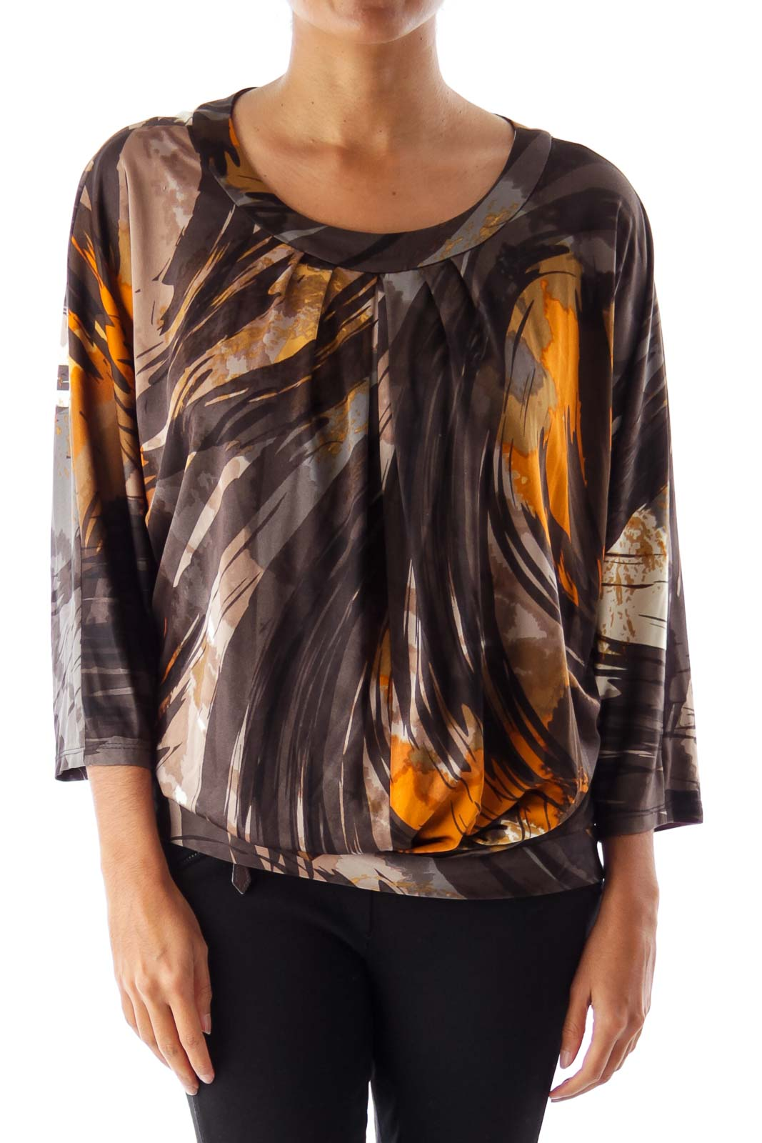 Black & Brown Print Shirt Front