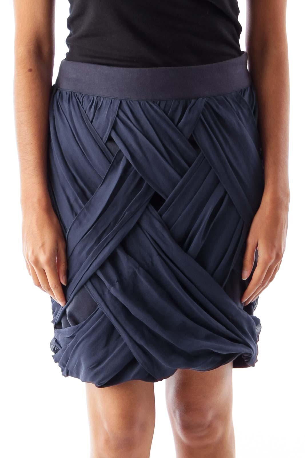 Navy Silk Detail Mini Skirt Front