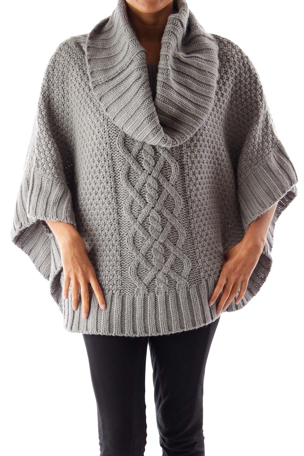 Gray Turtleneck Knit Cape Front