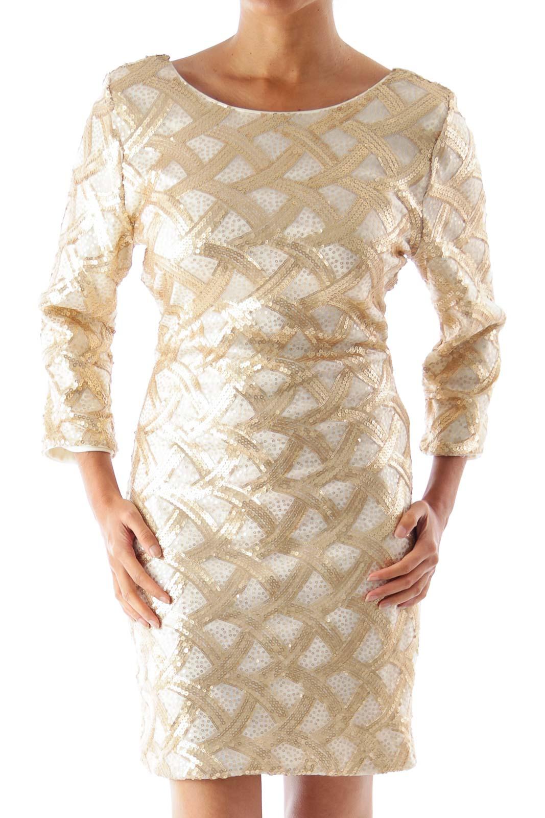 Gold Sequin Mini Dress Front