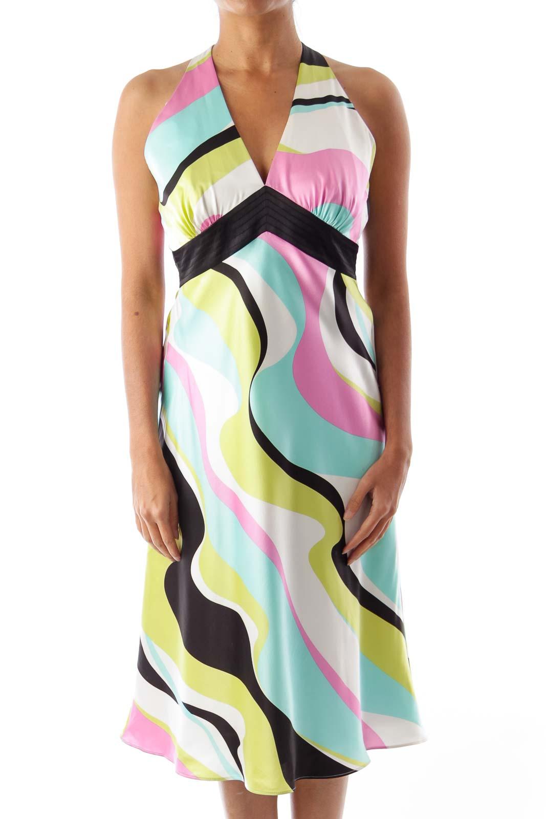 Print Halterneck Dress Front