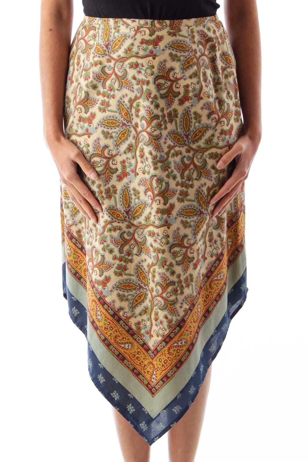 Print Asymmetric Skirt Front