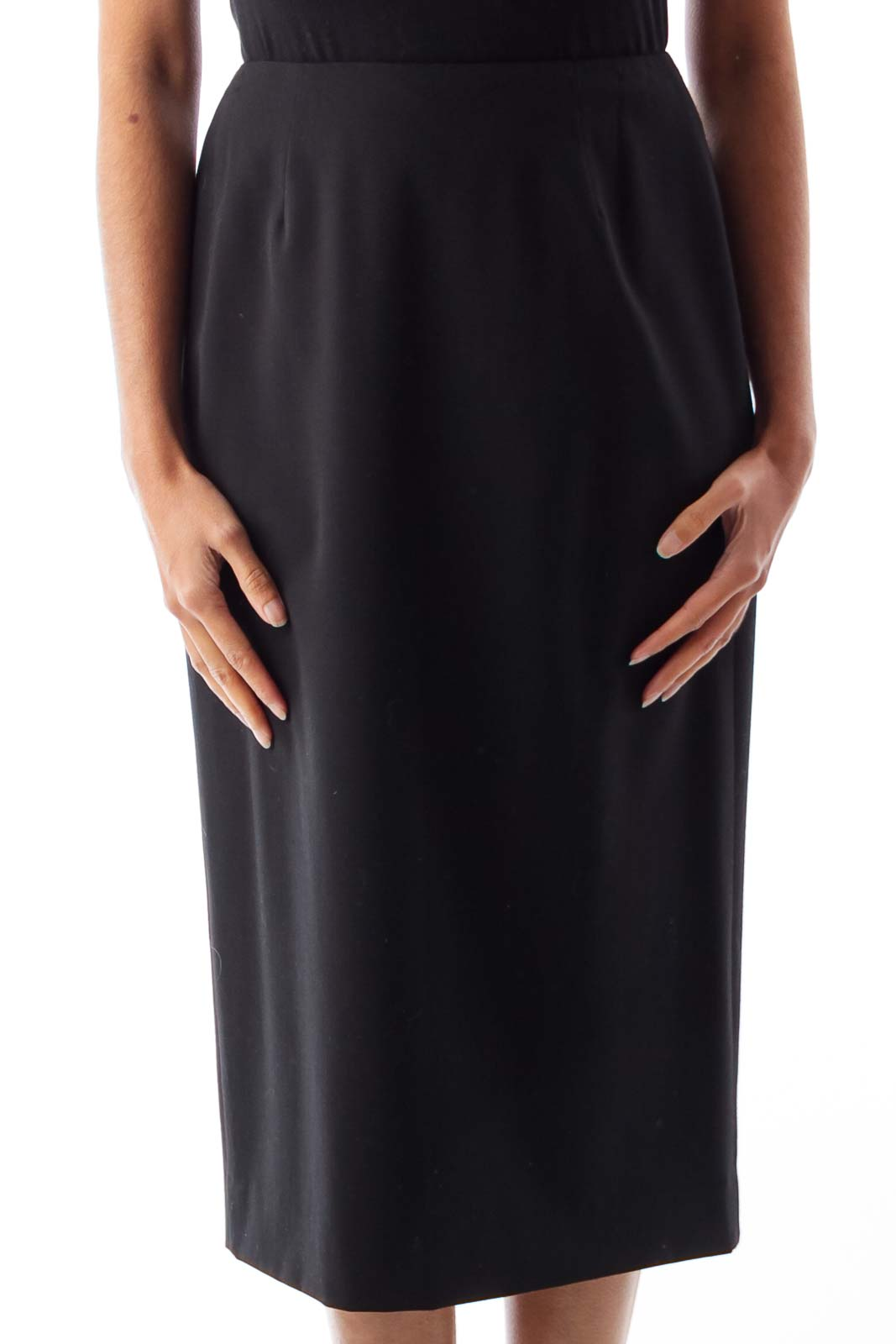 Black Fitted Knee Skirt Front