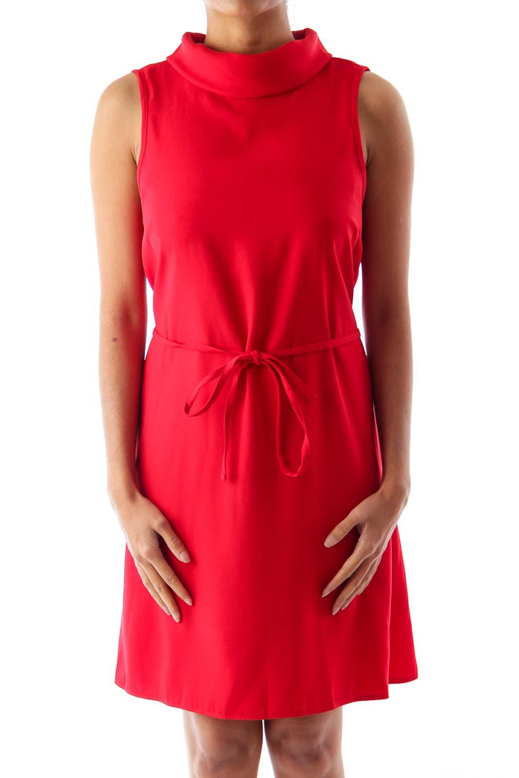 Red Turtleneck Dress Front
