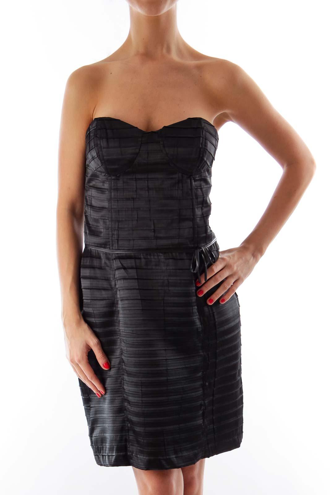 Black Strapless Corset Mini Dress Front