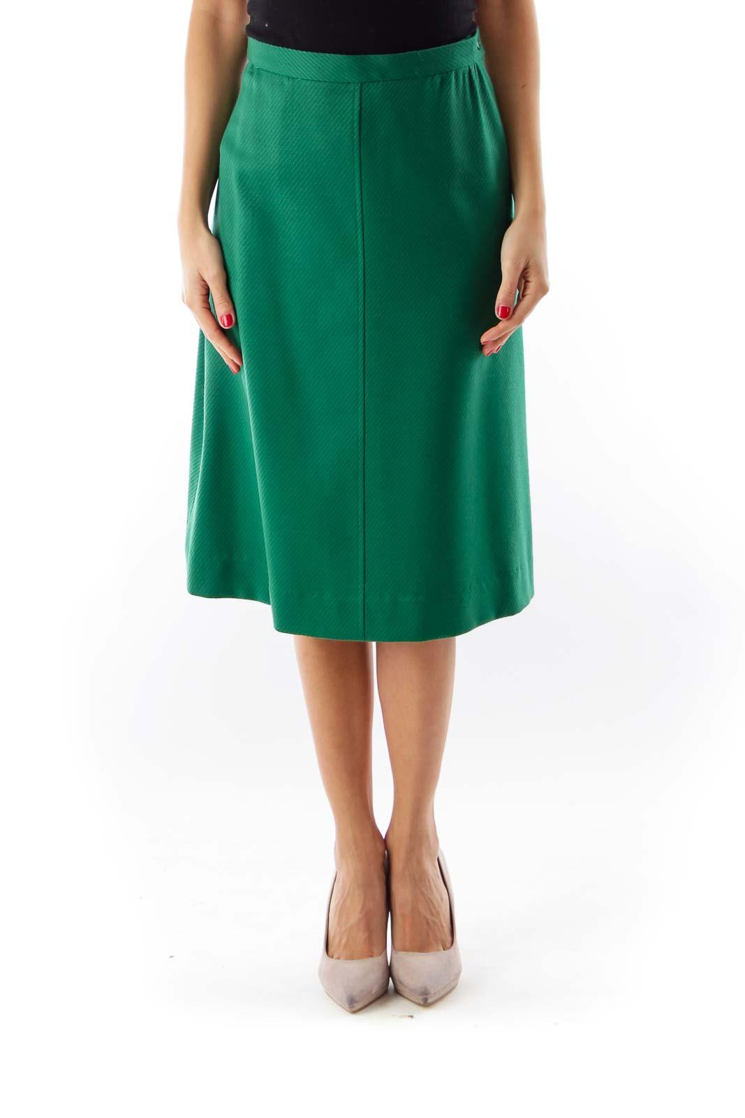 Green Pinstripe Midi Skirt Front