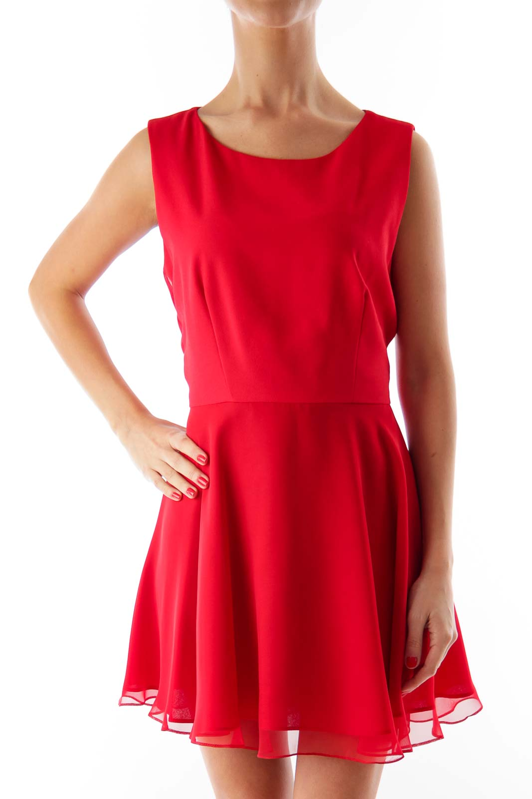 Red A-Line Petite Mini Dress Front