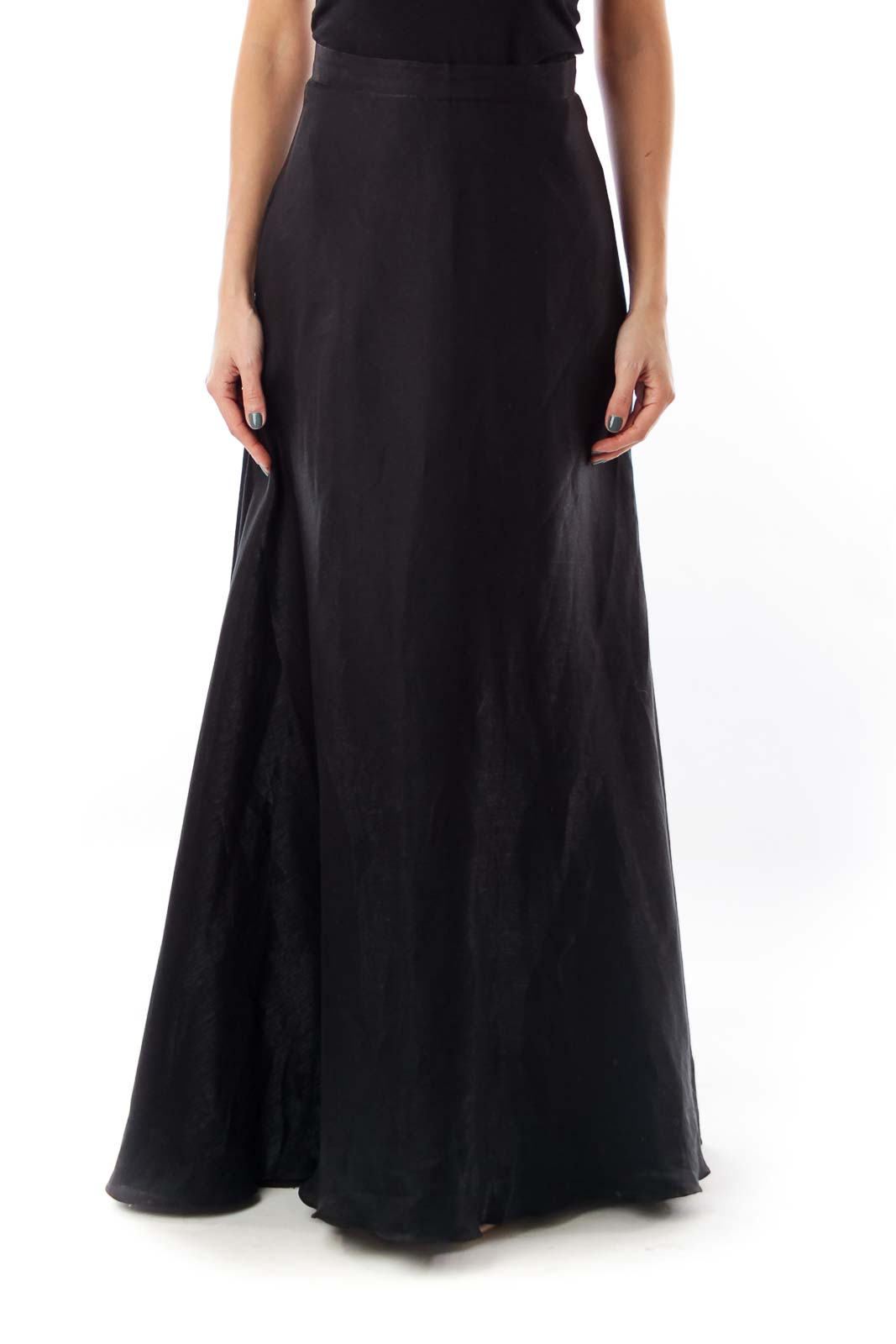 Black Long A-Line Skirt Front
